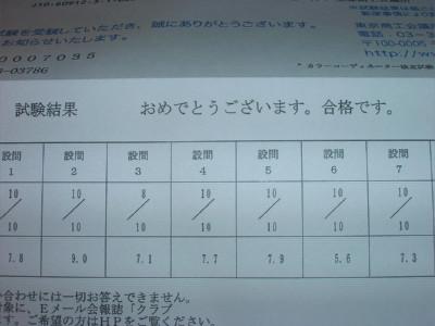 カラーコーディネーター検定試験の合格通知