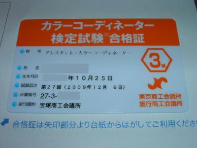 カラーコーディネーター検定試験の合格証 #1