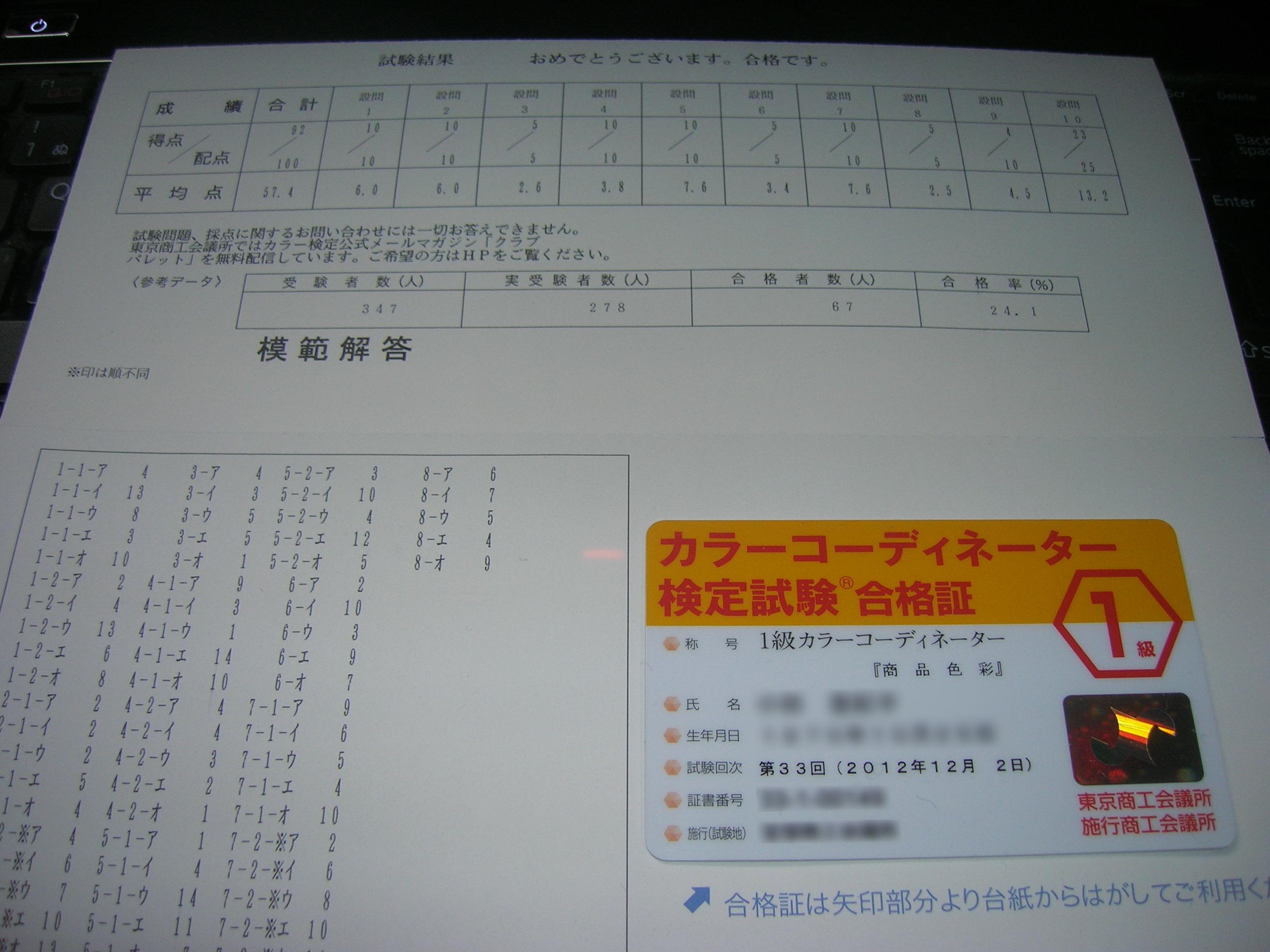 合格通知兼成績表と合格証カード