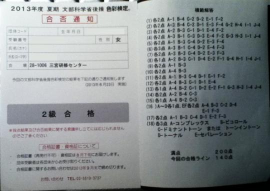 2013年度夏期色彩検定2級合格通知