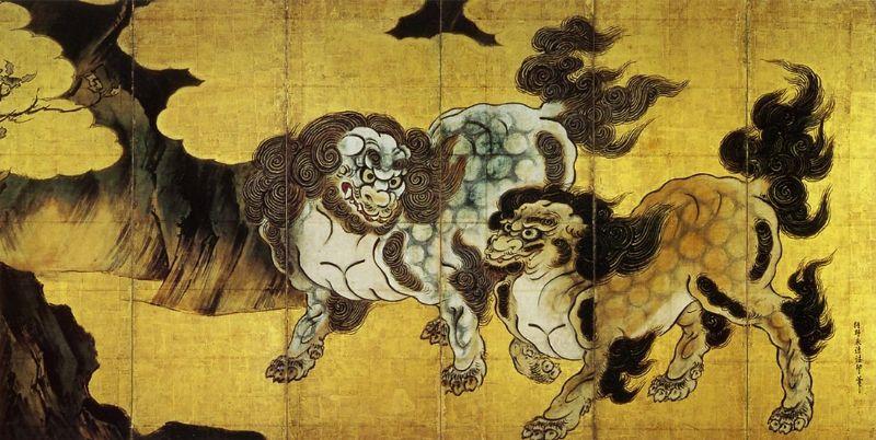 狩野永徳筆 唐獅子図