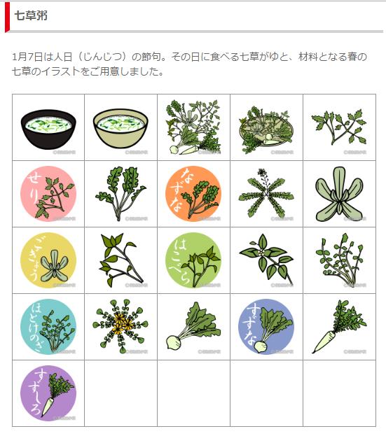 春の七草と七草粥のイラスト