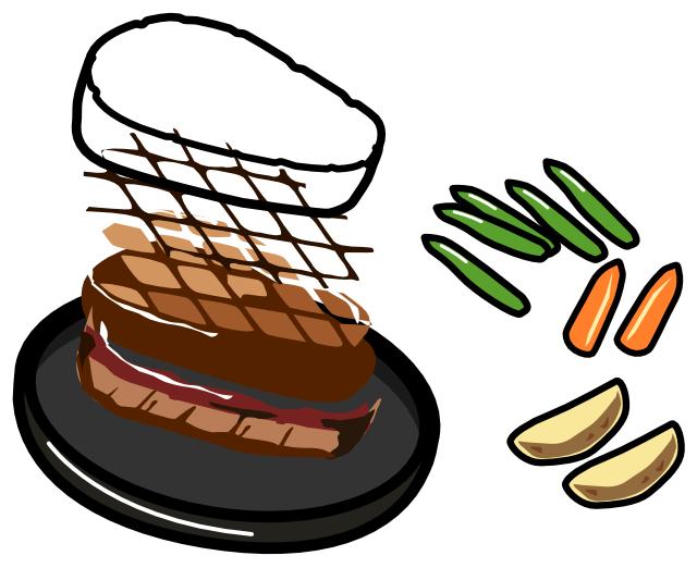 ステーキのイラスト分解図