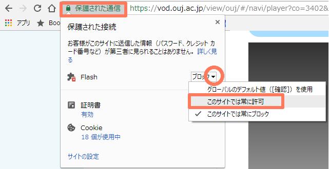 Flashブロックの解除(Chromeの場合)