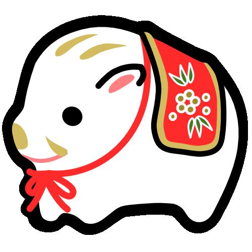 猪の置物のイラスト